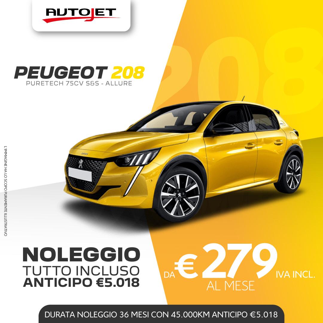 Noleggio Lungo Termine Peugeot 208 da Autojet