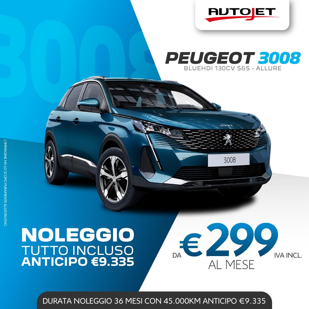 Noleggio Lungo Termine Peugeot 3008 da Autojet